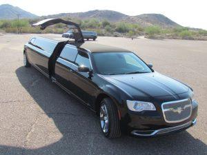 Chrysler 300 limousine service Scottsdale with door open