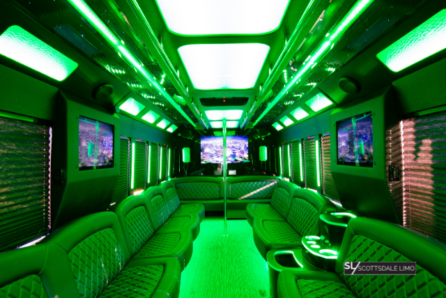 2020 Party Bus green interior - Scottsdale Limo