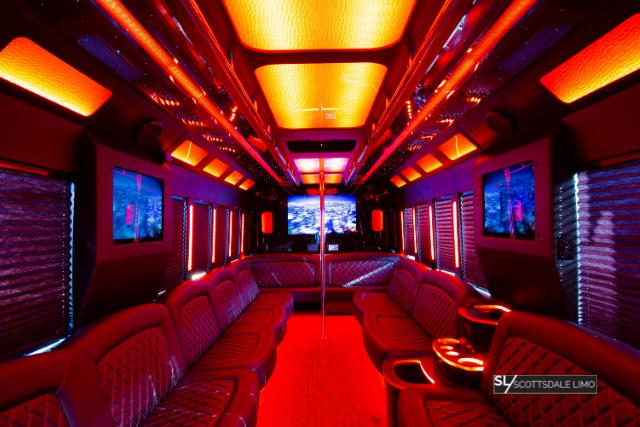 2020 Party Bus orange interior - Scottsdale Limo