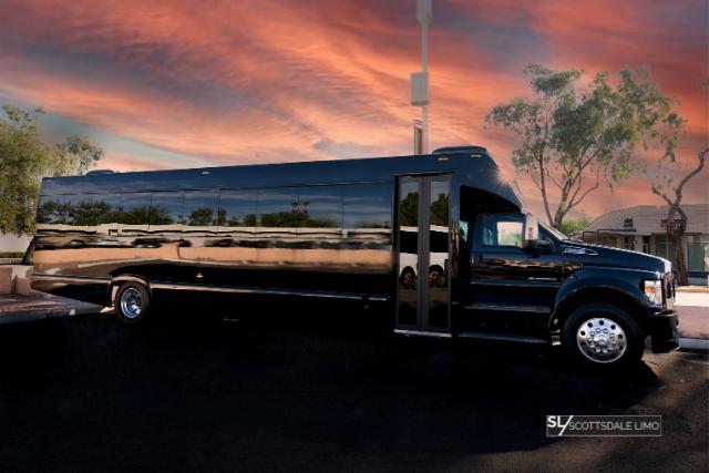 Black 2020 Party Bus exterior - Scottsdale Limo