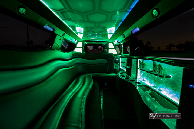 Chrysler 300 Wedding Limousine green interior - Scottsdale Limo