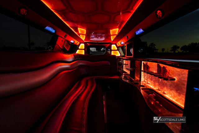 Chrysler 300 Wedding Limousine orange interior - Scottsdale Limo