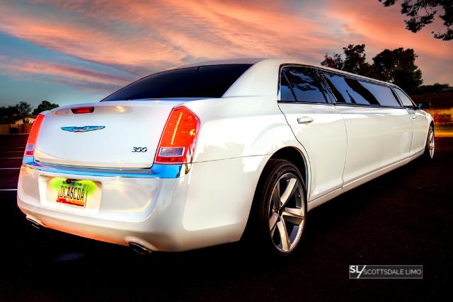 White Chrysler 300 Stretch Limousine rear - Scottsdale Limo
