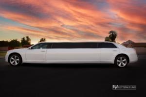 White Chrysler 300 Stretch Limousine exterior side - Scottsdale Limo